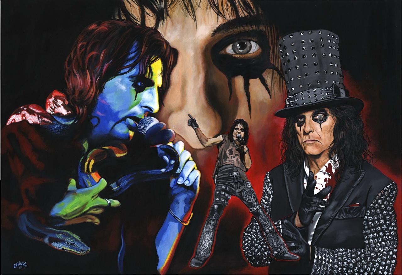 Фотография Мужчины Микрофон Alice Cooper Шляпа Музыка Рисованные