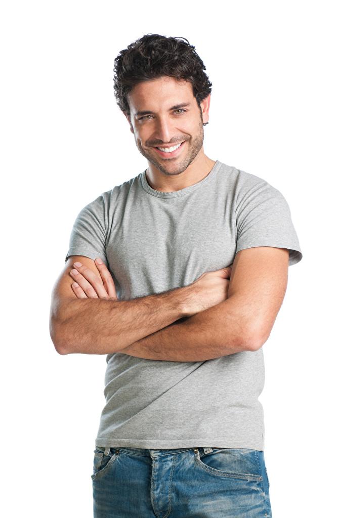 Картинки мужчина улыбается Руки Взгляд Белый фон  для мобильного телефона Мужчины Улыбка рука смотрят смотрит белом фоне белым фоном