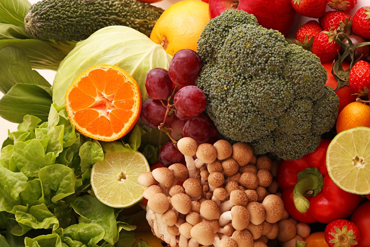 Фотография Грибы Виноград Еда Овощи Фрукты Пища Продукты питания