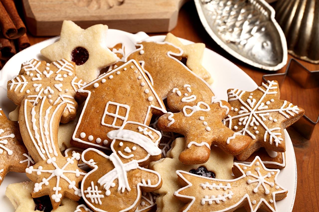 Фотографии снеговика Еда Печенье Выпечка снеговик Снеговики Пища Продукты питания