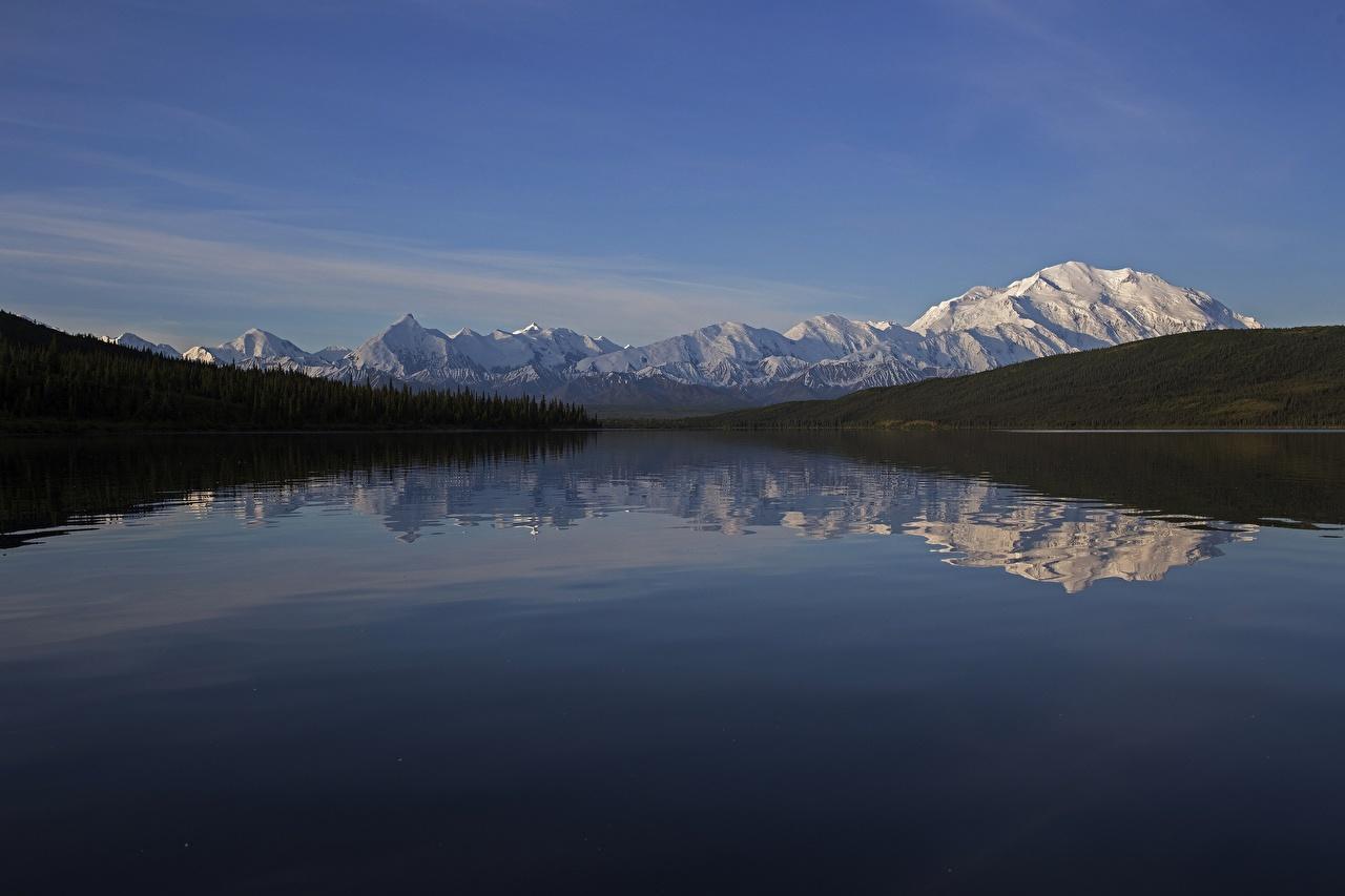 Картинка Аляска США Denali National Park , mount Denali Горы Природа Леса Снег Отражение Реки штаты речка
