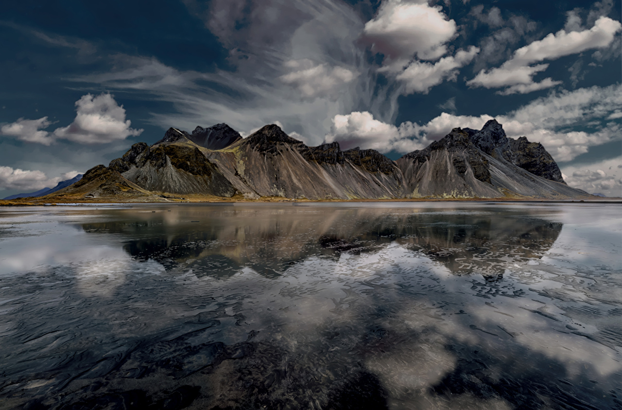Фото Исландия гора Природа Небо залива Облака Горы Залив заливы облако облачно