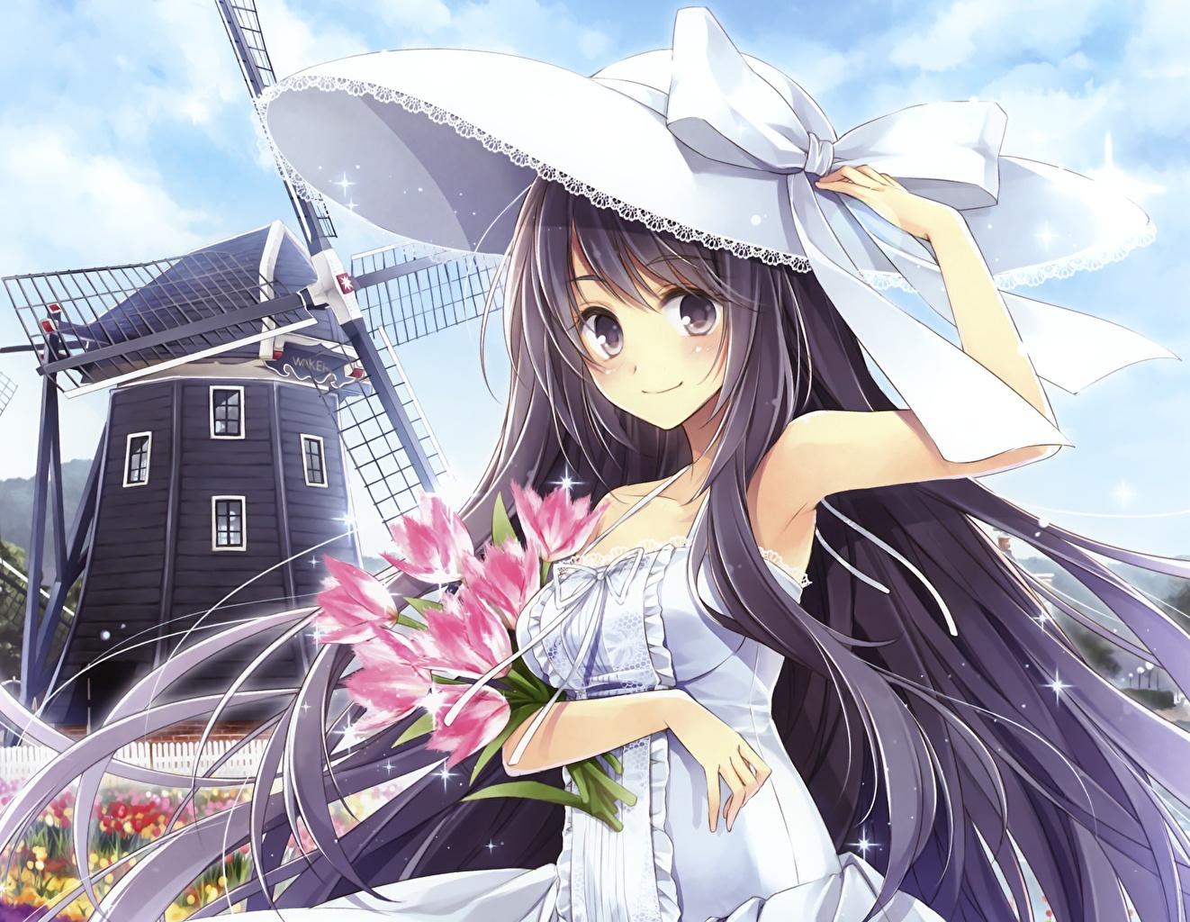 Фотография мельницы Hagiwara Rin Аниме шляпе Тюльпаны молодая женщина Мельница ветряная мельница шляпы Шляпа тюльпан девушка Девушки молодые женщины