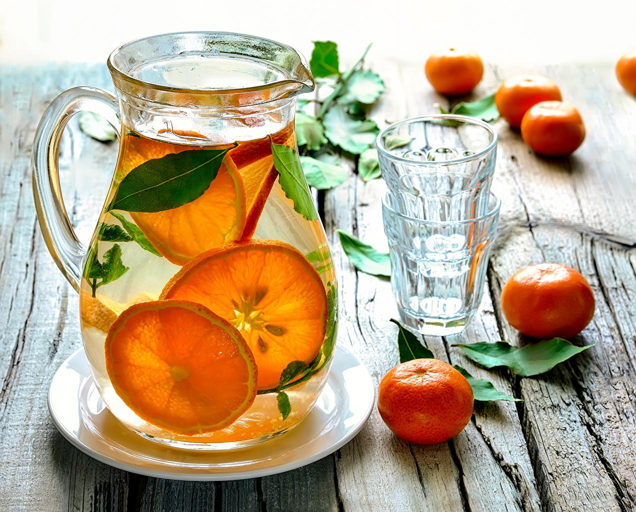 Картинки Лимонад Мандарины Стакан Кувшин Еда Доски Напитки Пища Продукты питания