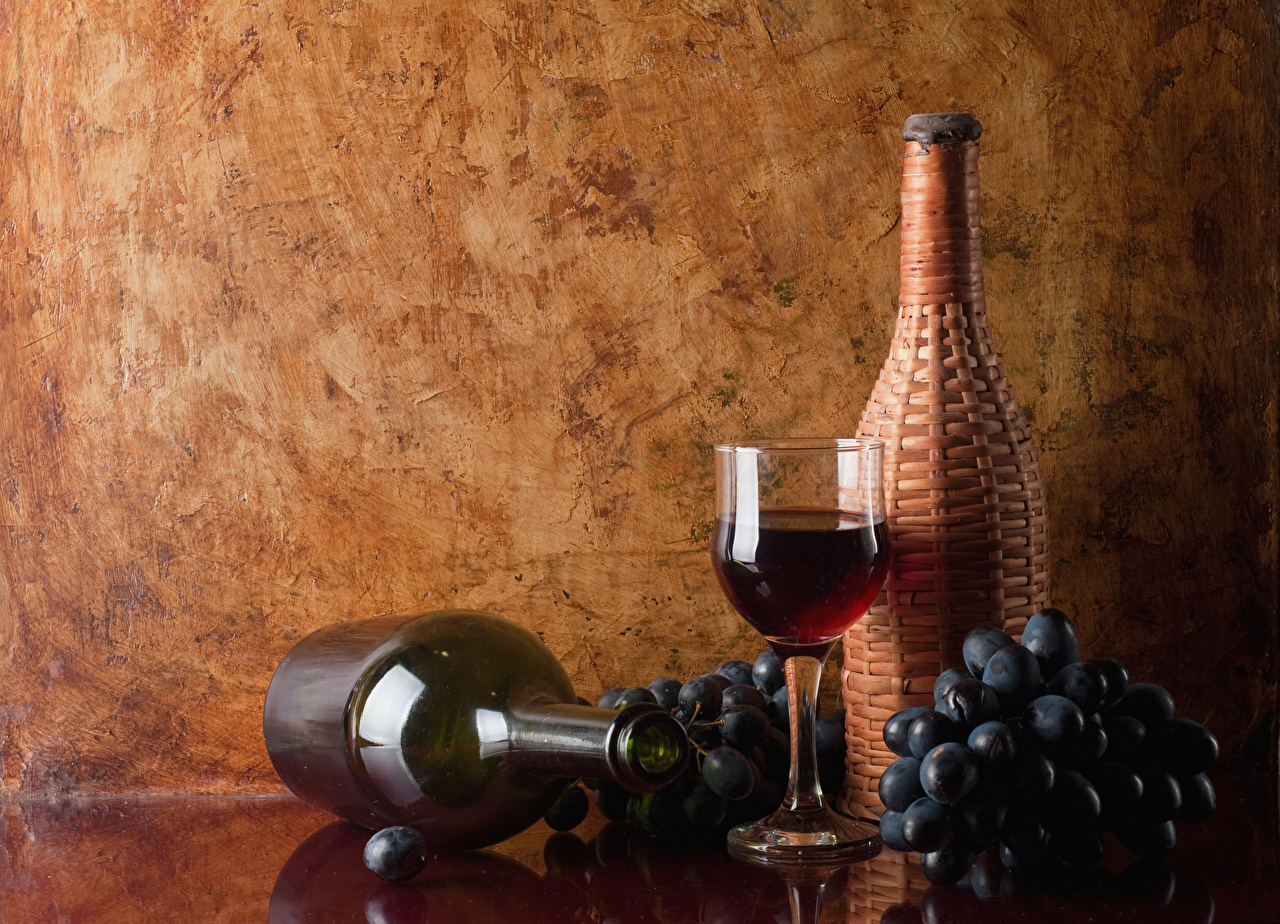 Фотография Вино Виноград Еда Бокалы Бутылка Пища бокал бутылки Продукты питания