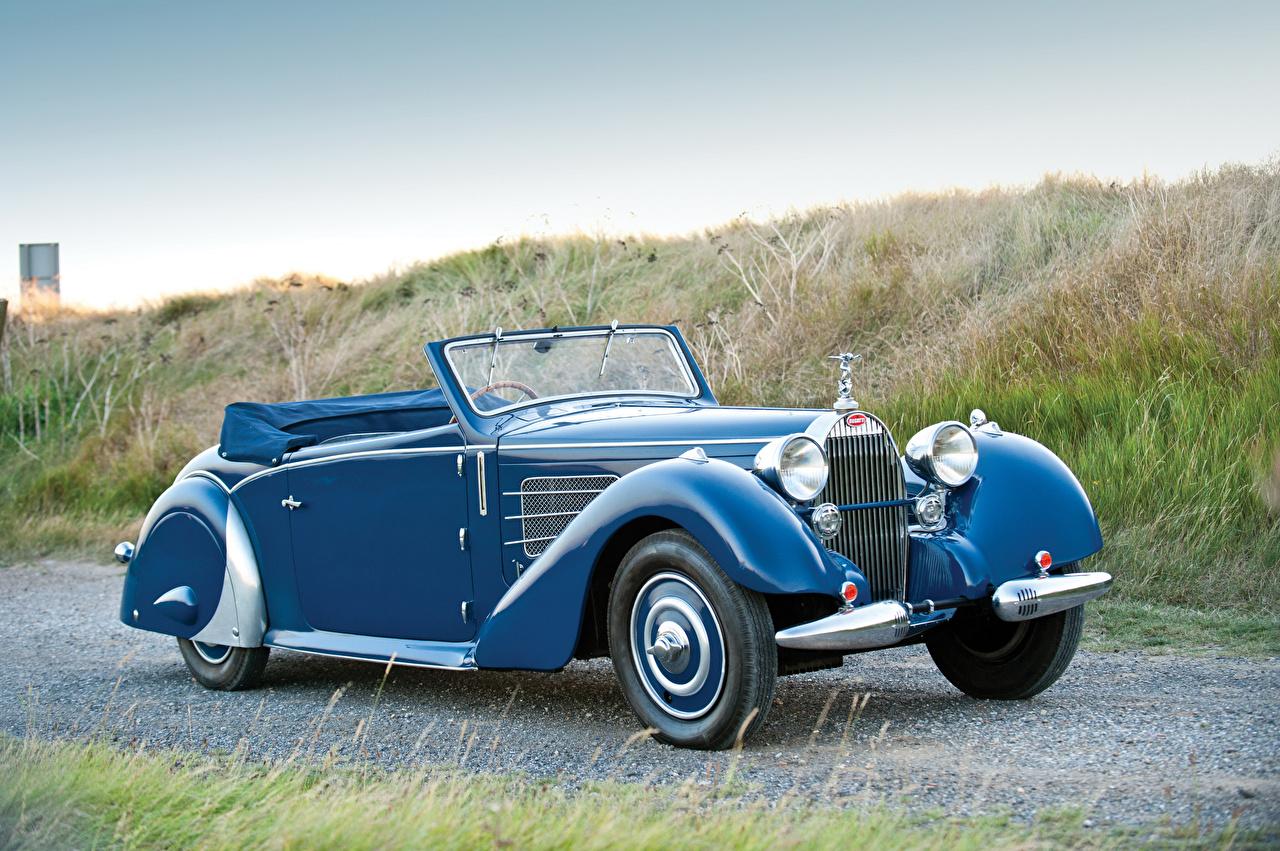 Обои для рабочего стола BUGATTI 1937 Type 57 Stelvio Cabriolet by Gangloff Кабриолет Ретро голубая авто кабриолета винтаж голубых голубые Голубой старинные машина машины автомобиль Автомобили