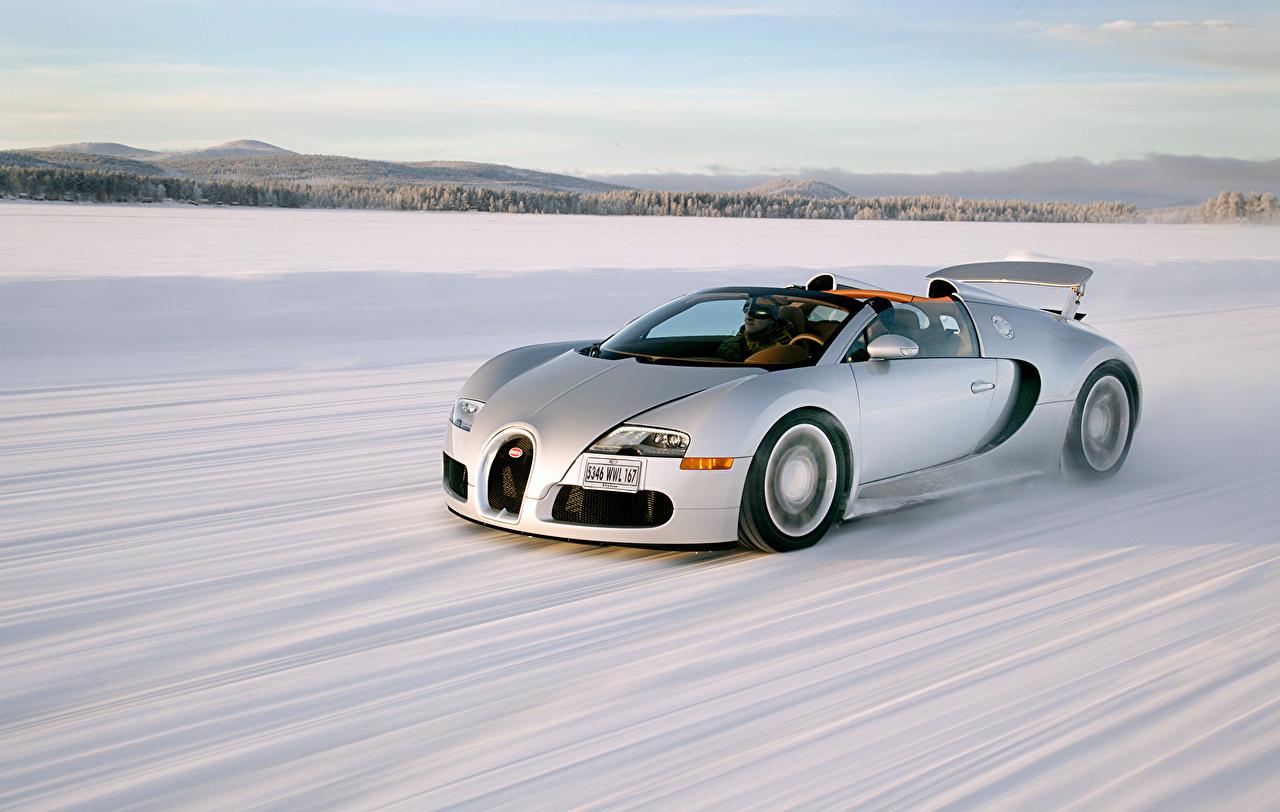 Обои для рабочего стола BUGATTI 2008–12 Veyron Grand Sport Roadster Родстер дорогая Белый снега едущий автомобиль дорогие дорогой люксовые роскошная роскошный Роскошные белых белые белая Снег едет снеге снегу едущая Движение скорость авто машина машины Автомобили