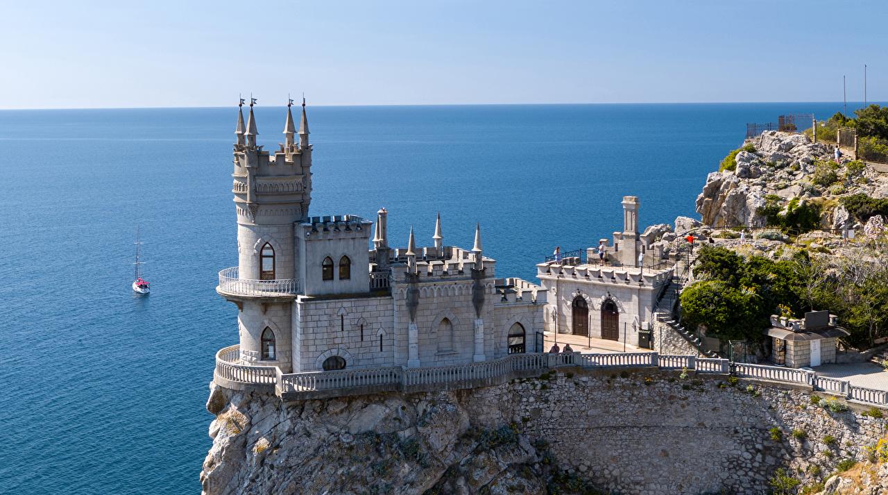 Фотография Крым Россия Памятники Swallow's Nest Море Замки Города замок город