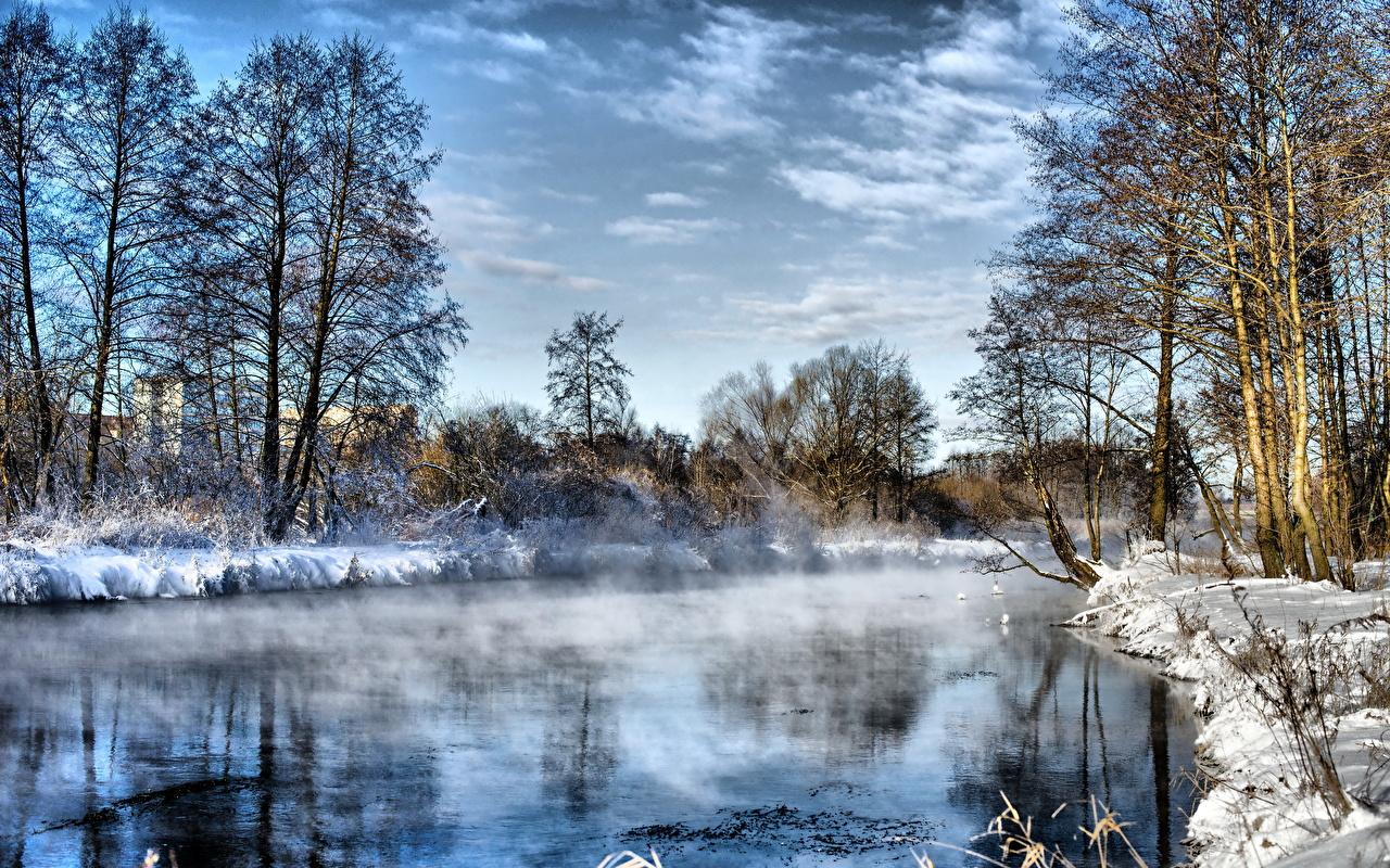 Картинка Зима Природа Небо Пейзаж речка дерева зимние Реки река дерево Деревья деревьев