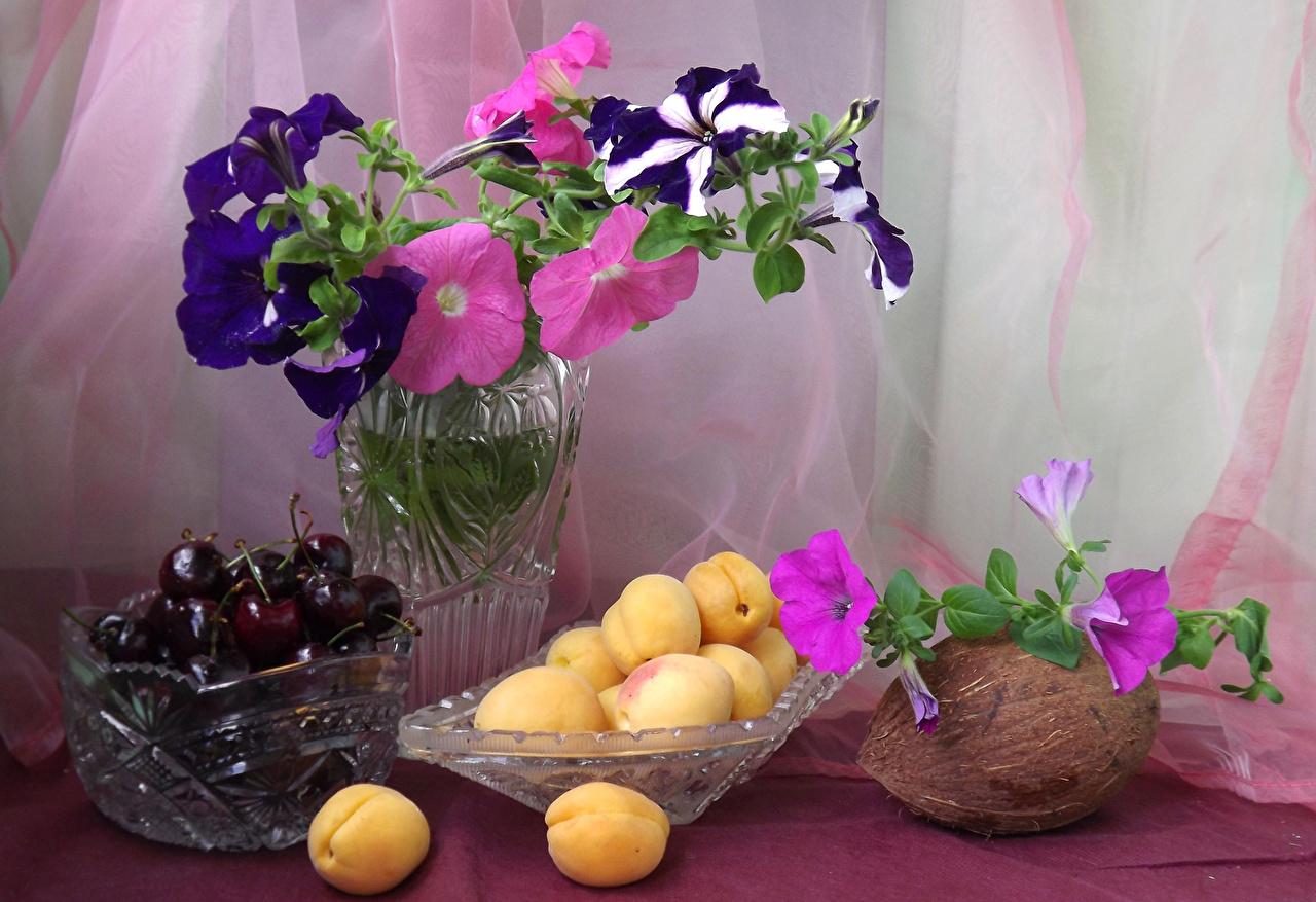 Фото Абрикос Вишня Кокосы цветок Пища Натюрморт Цветы Черешня Еда Продукты питания