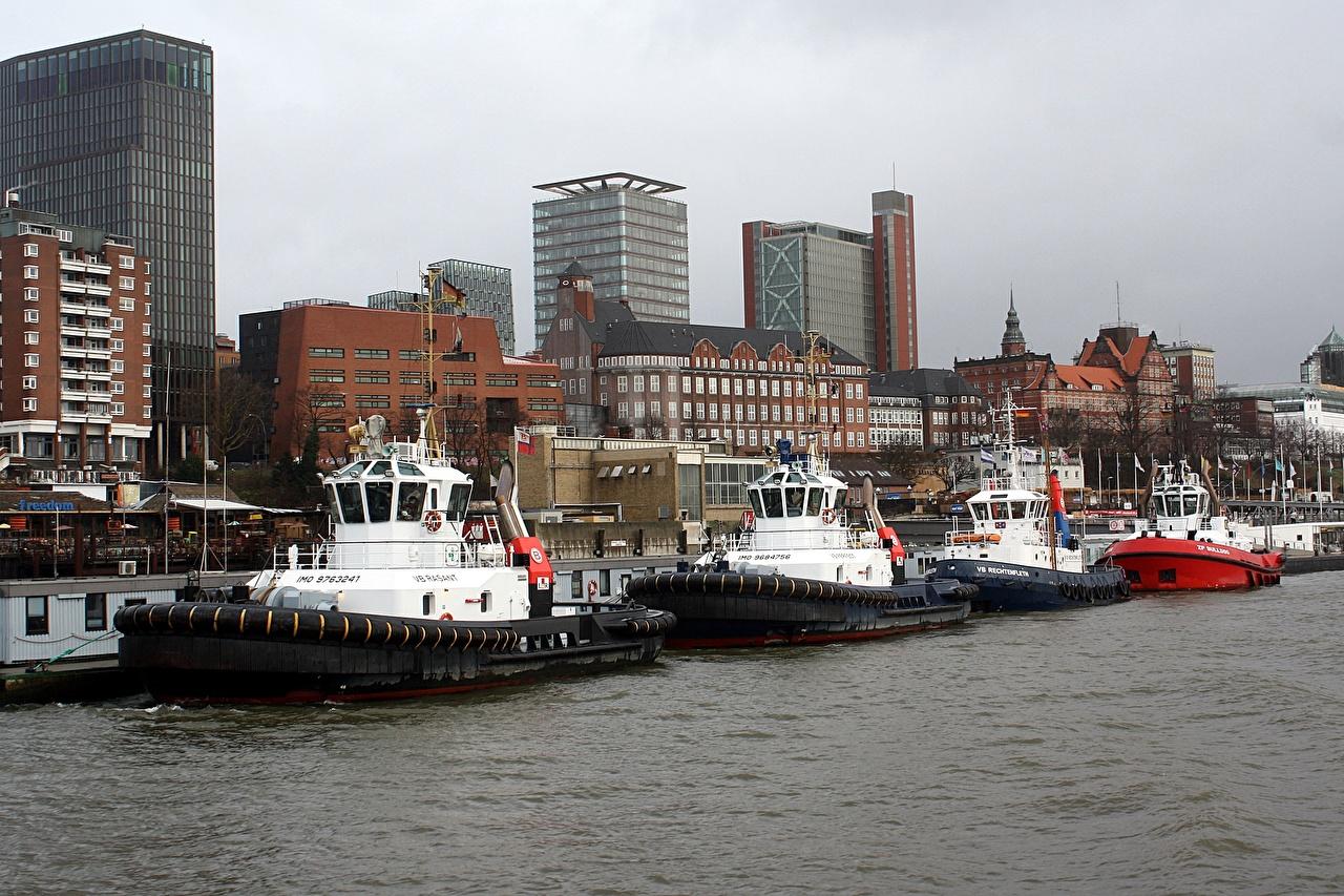 Фотографии Гамбург Германия Elbe river Корабли речка Причалы Дома Города Реки Пирсы Пристань Здания