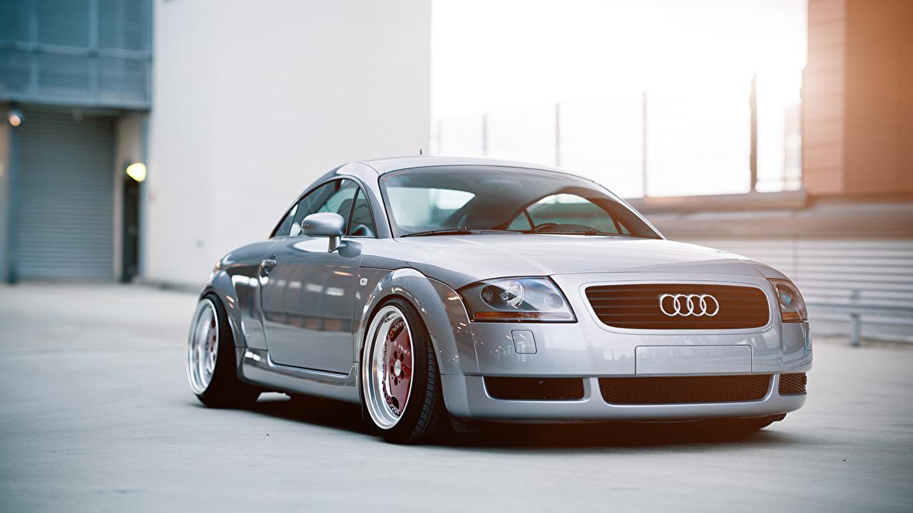Фото Ауди TT stance Серебристый Спереди Автомобили Audi серебряный серебряная серебристая авто машины машина автомобиль