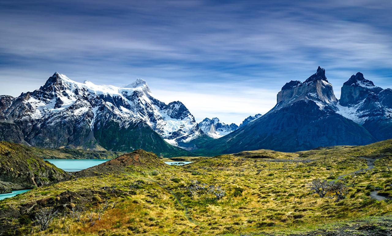 Обои для рабочего стола Чили Torres del Paine National Park, Patagonia Горы Природа парк гора Парки