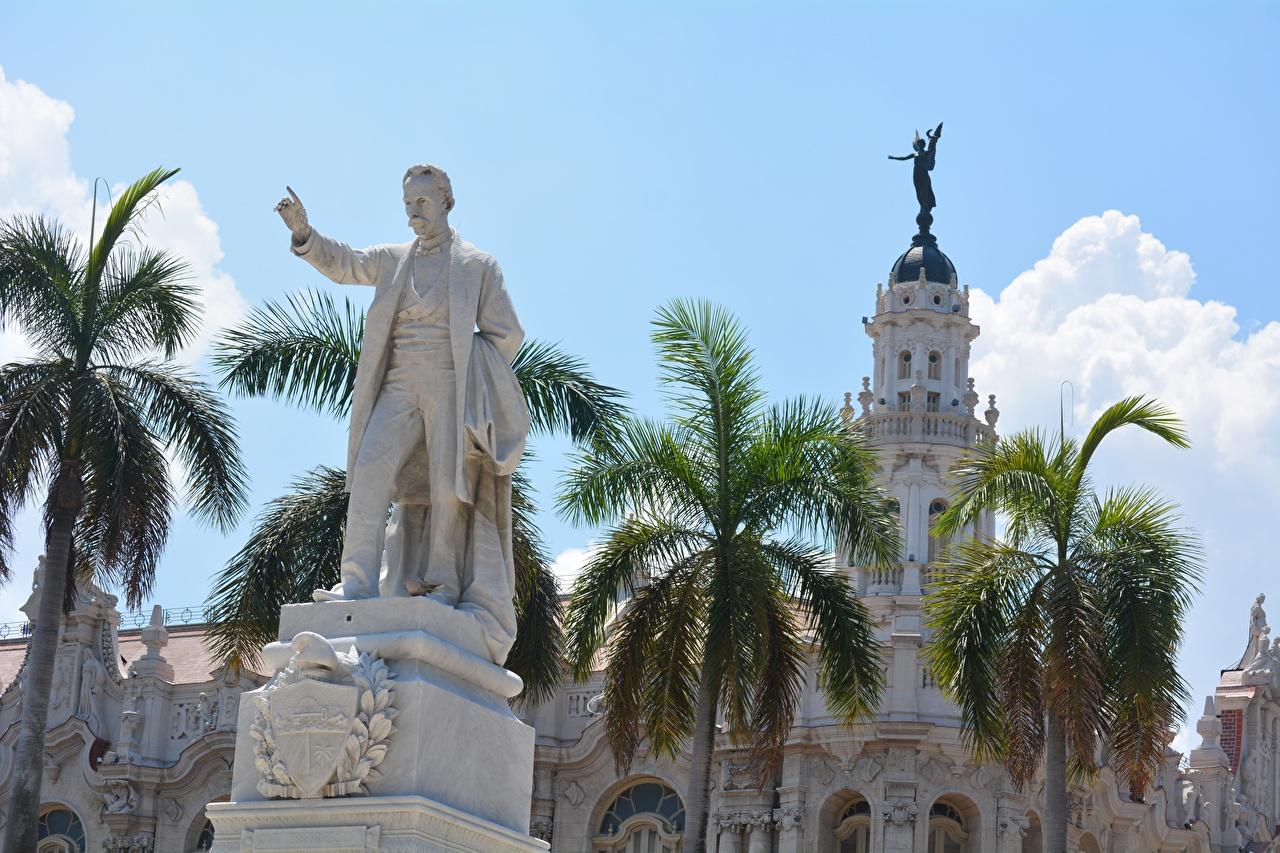 Фотография Куба Мужчины Памятники Havana, monument to Jose Marti пальма Города пальм Пальмы город