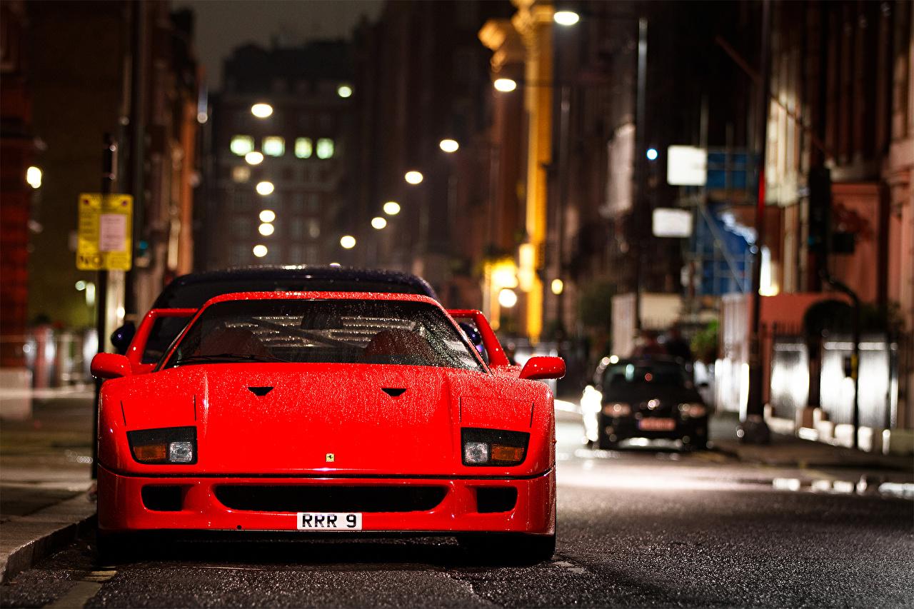 Обои для рабочего стола Ferrari F 40 Красный Спереди Автомобили город Феррари красная красные красных авто машины машина автомобиль Города