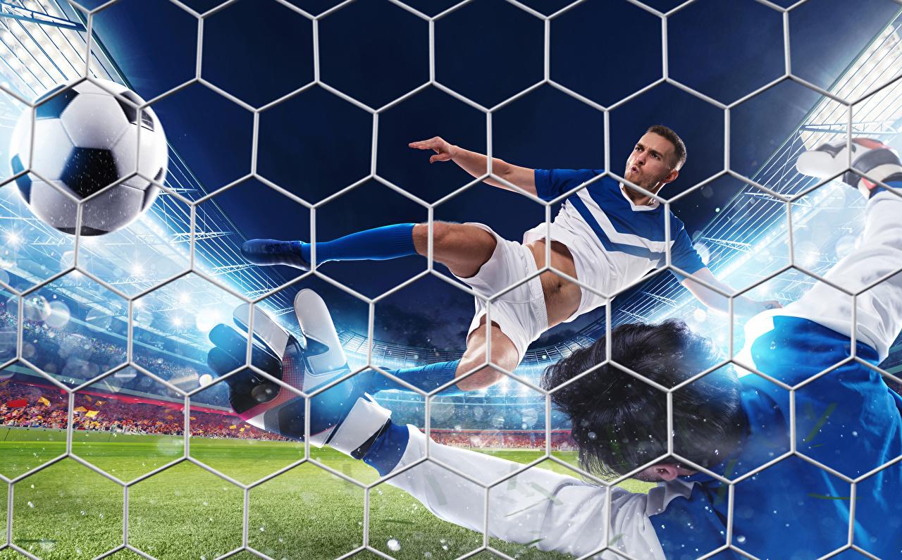 Фотография Мужчины Сетка Спорт Футбол Мяч летящий спортивная сетка летят летит Полет Мячик