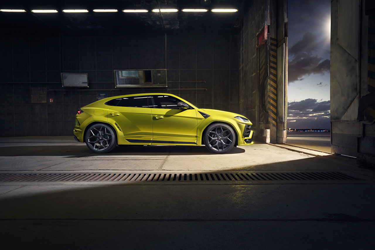 Картинка Lamborghini Кроссовер Urus SSUV Желтый Сбоку Металлик Автомобили Ламборгини CUV желтая желтые желтых авто машины машина автомобиль
