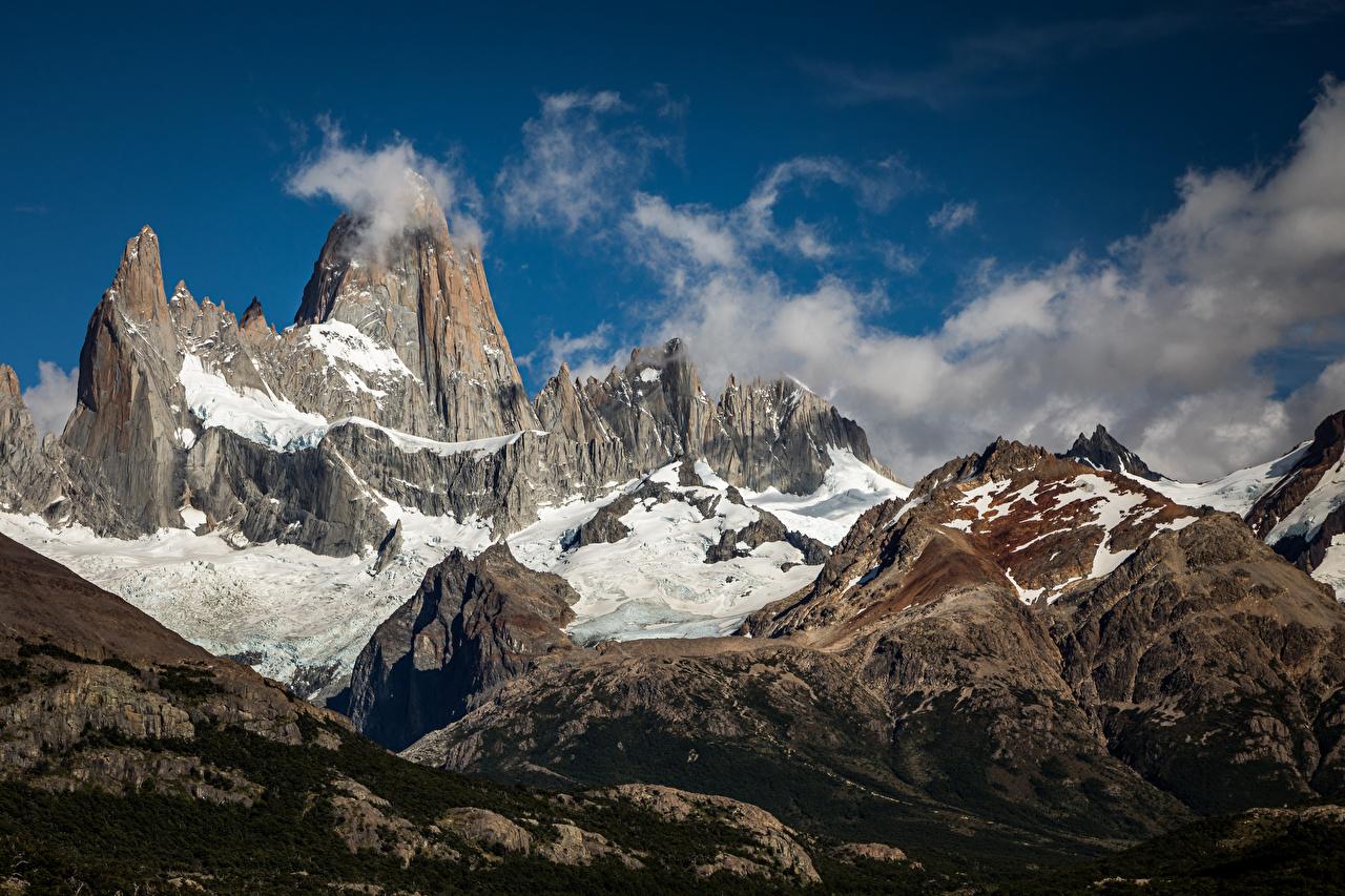Фотография Аргентина Fitz Roy, Patagonia гора скалы Природа Облака Горы Утес скале Скала облако облачно