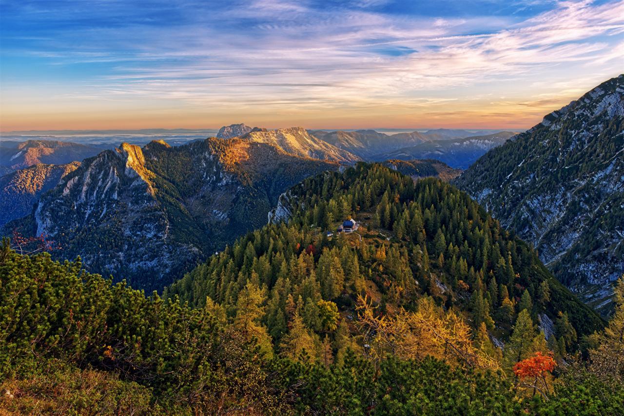 Картинка альп Австрия Gmunden Горы Природа Леса Пейзаж Альпы гора лес