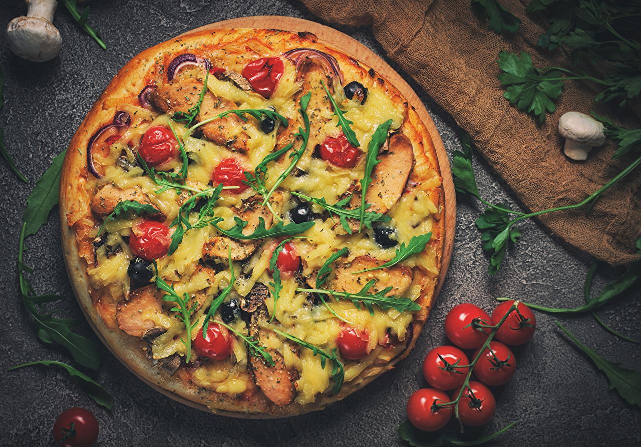 Фото Пицца Томаты Грибы Фастфуд Продукты питания Помидоры Быстрое питание Еда Пища