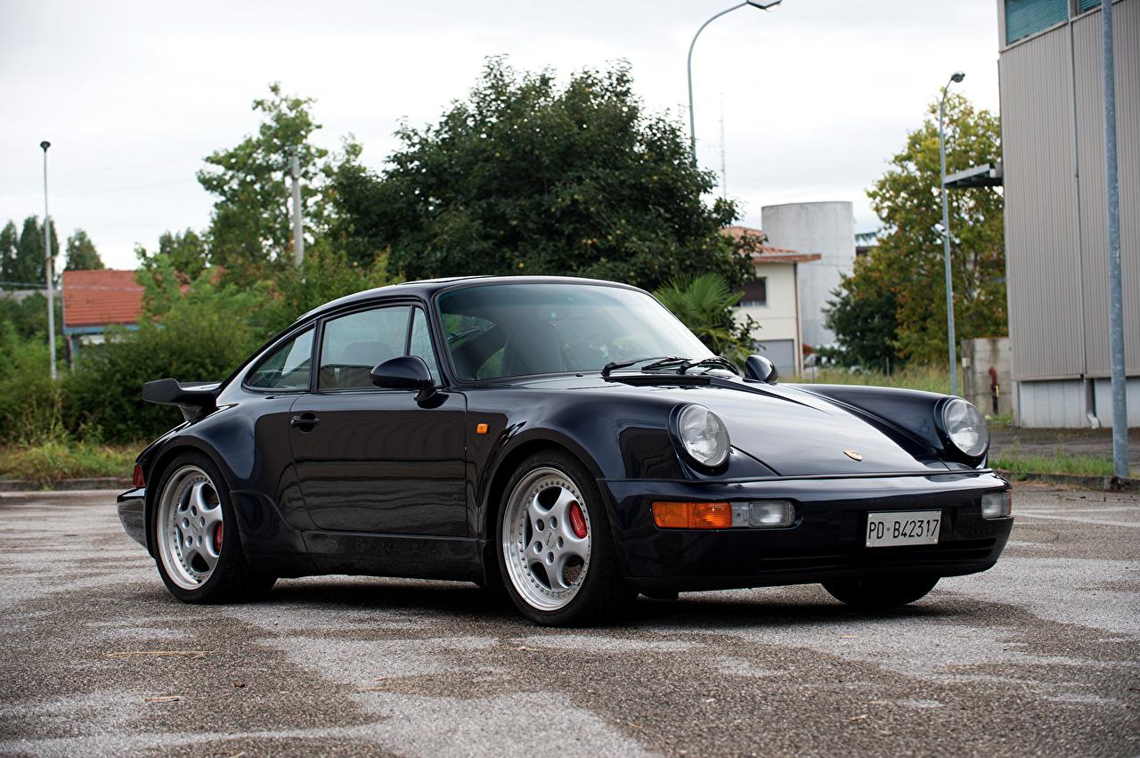 Картинка Porsche 1992-93 911 Turbo 3.6 Coupe черных Металлик автомобиль Порше Черный черные черная авто машина машины Автомобили