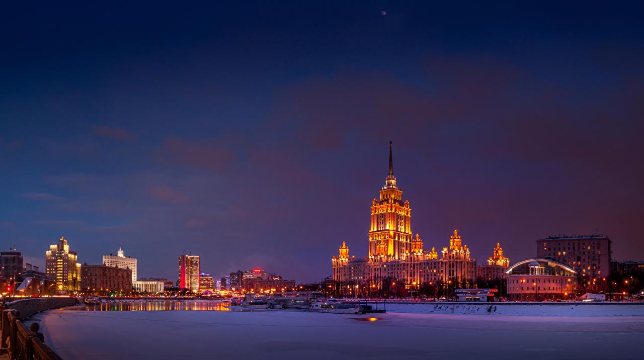 Фотографии Москва Россия зимние Снег Реки Вечер Дома город Зима снега снегу снеге река речка Здания Города