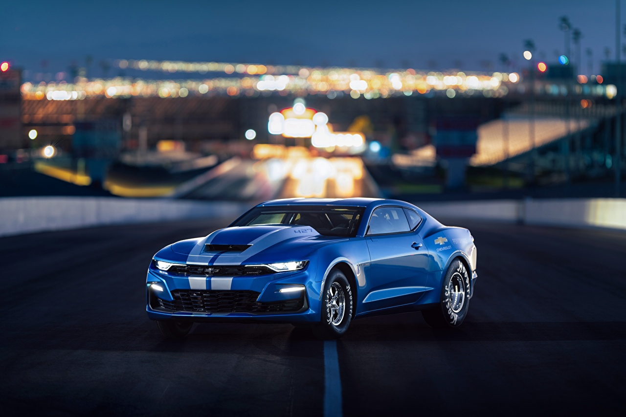 Фотографии Шевроле Camaro 2018 50th Anniversary COPO SEMA 2018 Синий авто Chevrolet синих синие синяя машина машины автомобиль Автомобили