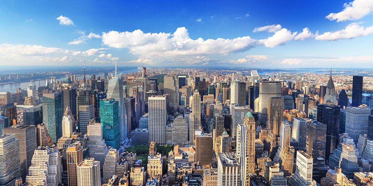 США, Дома Мегаполис, Нью-Йорк, Манхэттен, Сверху Здания, штаты, вид,  Города