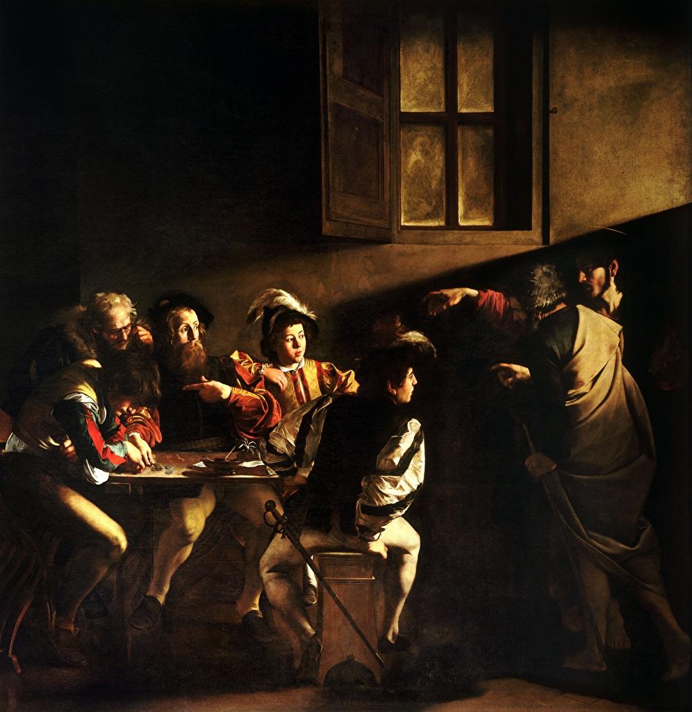Фото Мужчины Caravaggio (Michelangelo Merisi), The Calling of Saint Matthew картина Живопись