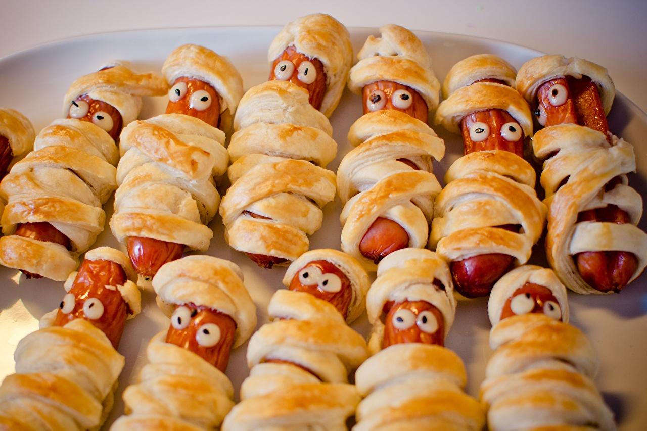 Обои для рабочего стола Глаза Креатив Сосиска Пища Много креативные оригинальные Еда Продукты питания