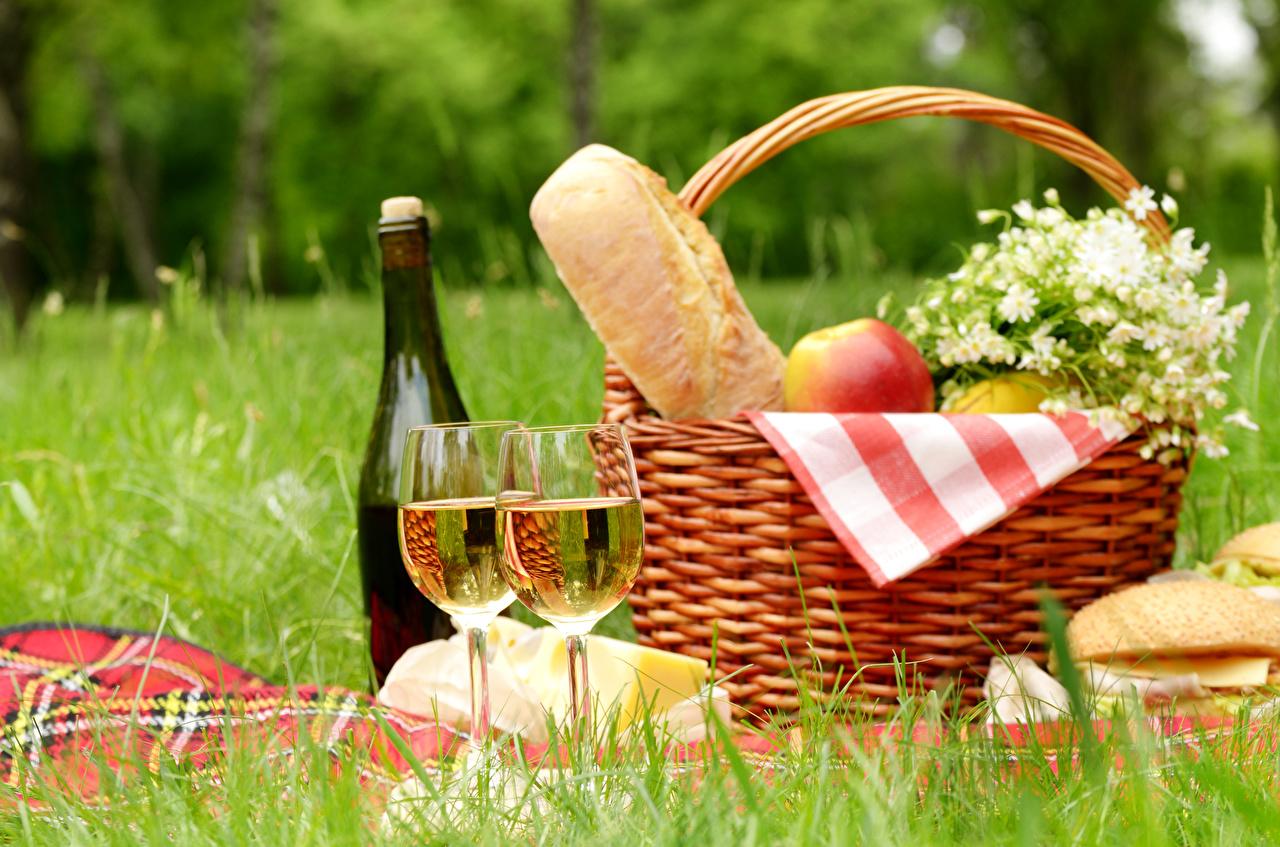 Картинки Пикник Вино Хлеб Корзинка Бокалы Бутылка Продукты питания пикнике корзины Корзина Еда Пища бокал бутылки