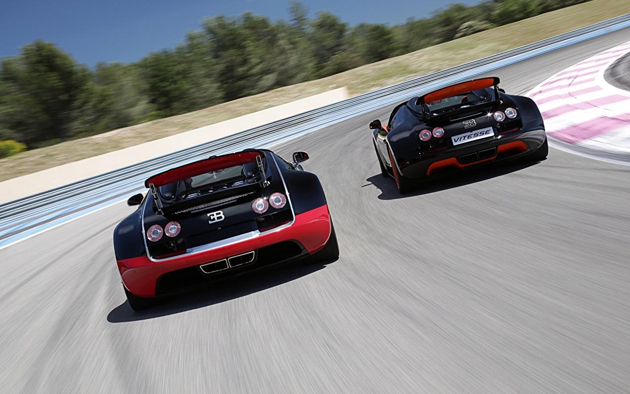 Фотография BUGATTI Veyron Grand Sport Roadster Vitesse WRC Родстер Роскошные 2 Авто Сзади дорогие дорогой дорогая люксовые роскошная роскошный Двое вдвоем Машины вид сзади Автомобили