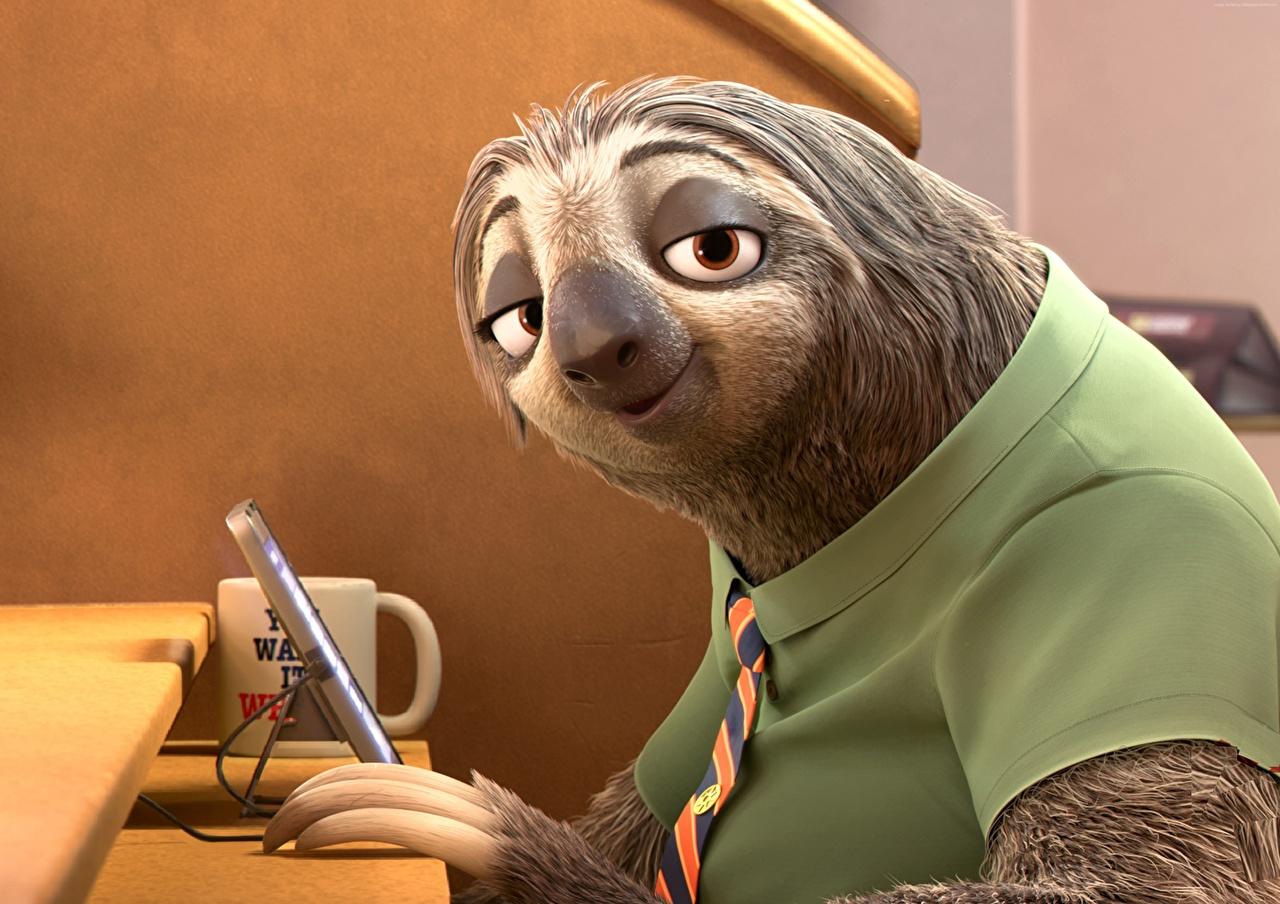 Фотографии Zootopia, Sloth 3д Мультфильмы смотрит мультик Мультики 3D Графика Взгляд смотрят