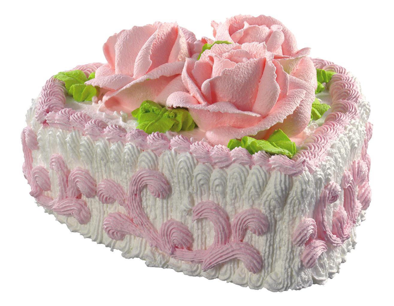 Фото Розы Торты Продукты питания белым фоном сладкая еда дизайна роза Еда Пища Сладости Белый фон белом фоне Дизайн