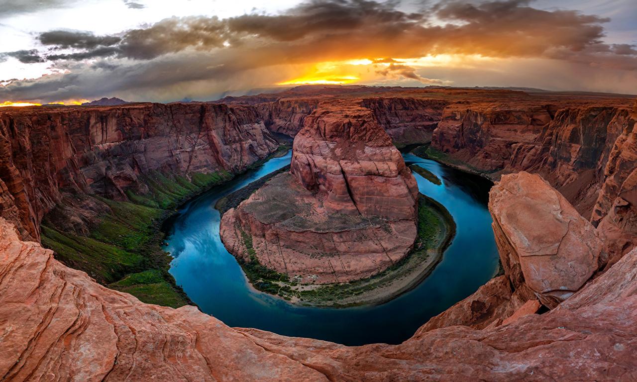 Фото америка Crafts of Colorado Горы Природа каньона Озеро облако США штаты гора Каньон каньоны Облака облачно