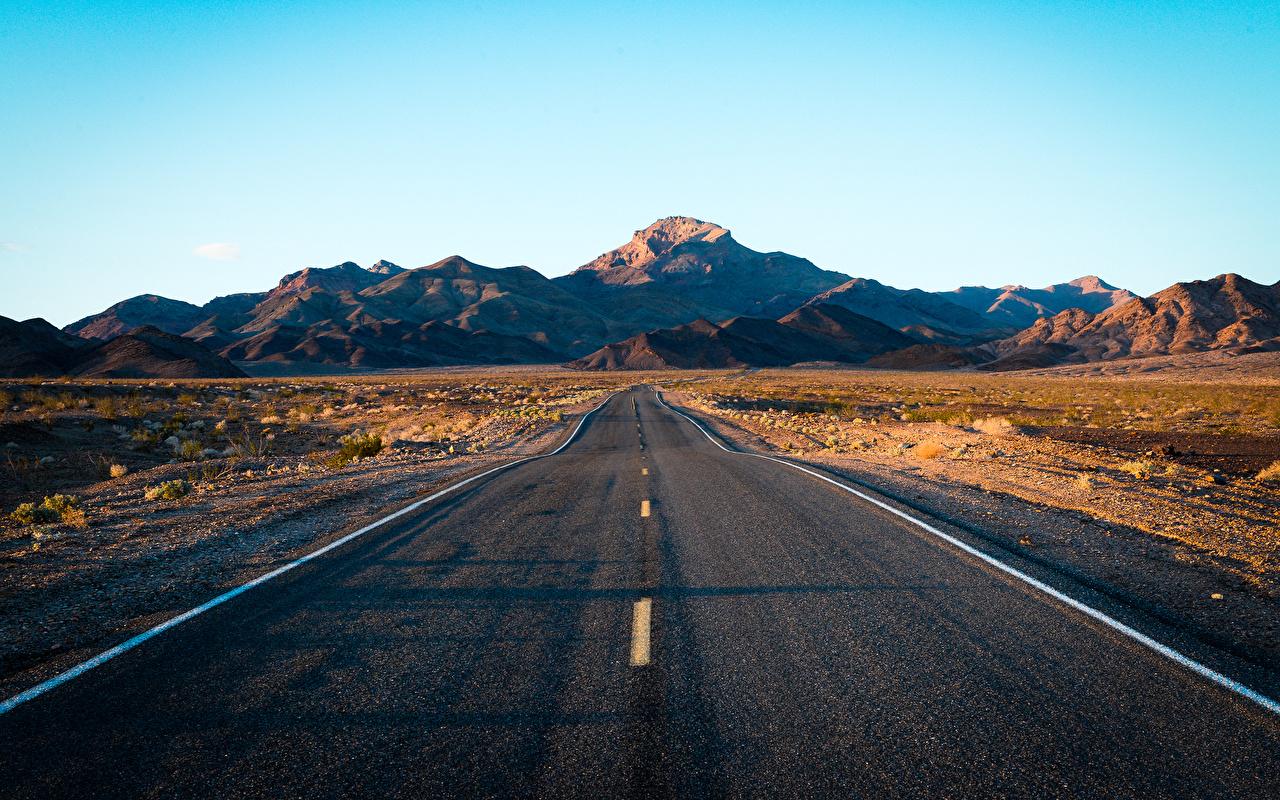 Картинка Death Valley гора Природа Небо Дороги Асфальт Горы асфальта