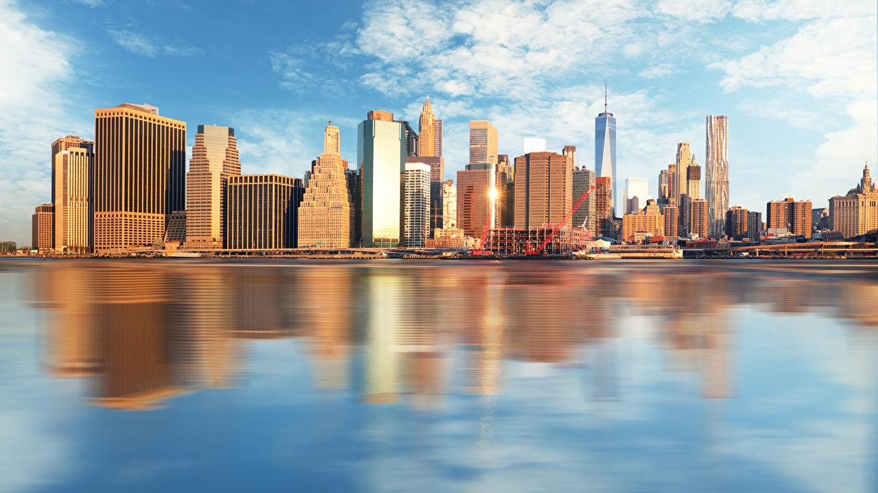 Фото Нью-Йорк США Побережье Небоскребы Дома город штаты америка берег Города Здания