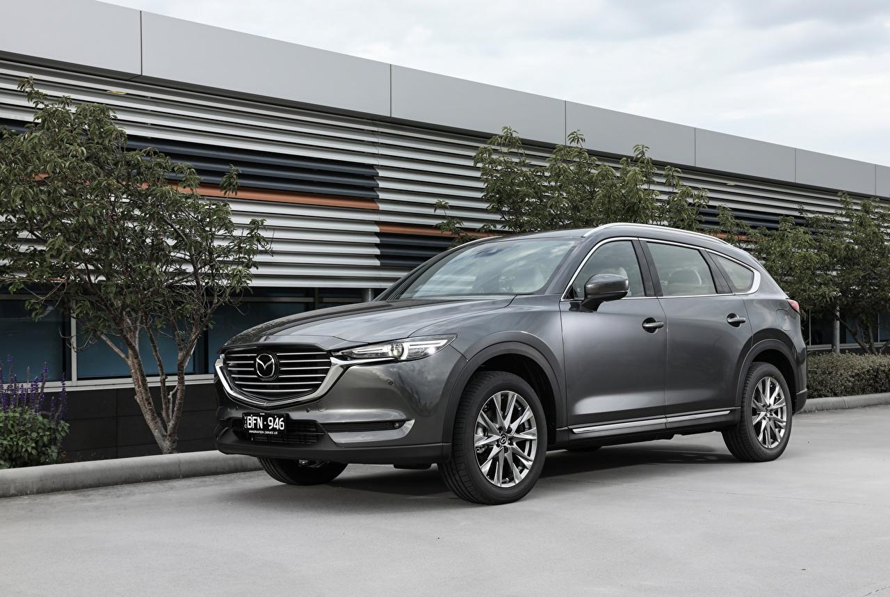 Картинки Mazda Кроссовер 2018-20 CX-8 серые Автомобили Мазда CUV серая Серый авто машины машина автомобиль