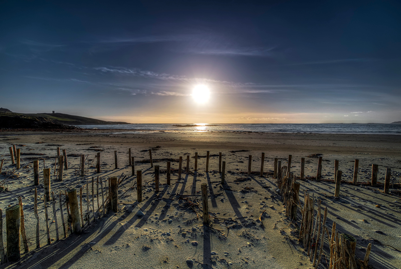 Картинка Ирландия Donegal, Maghery Beach пляжа Солнце Природа берег Пляж пляже пляжи солнца Побережье