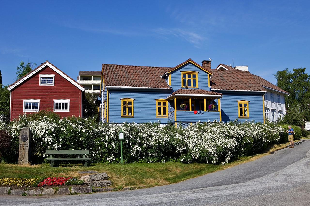Фотографии Норвегия Balestrand Улица Дома Кусты Города Здания