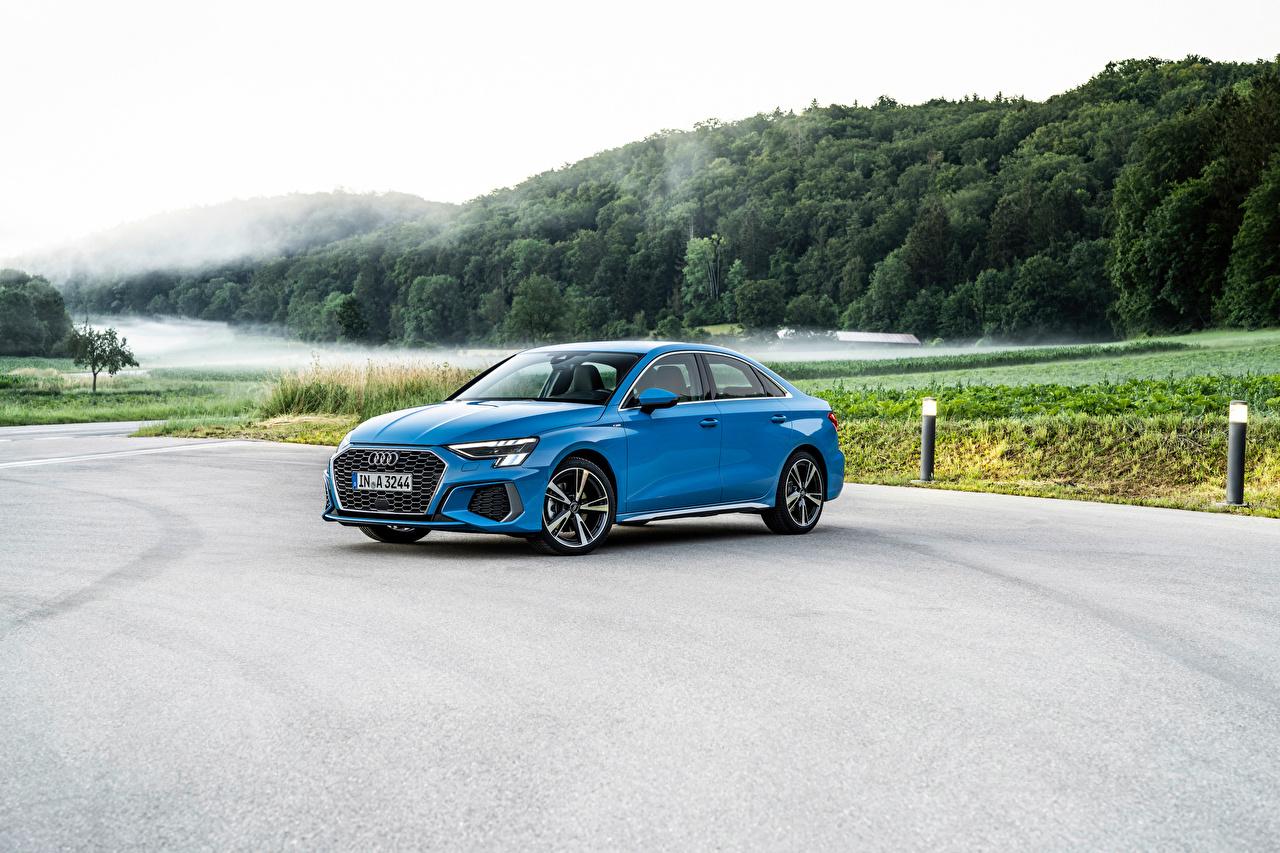 Обои для рабочего стола Audi A3 Sedan 35 TDI S line Worldwide, 2020 голубая авто Металлик Ауди голубых голубые Голубой машина машины автомобиль Автомобили