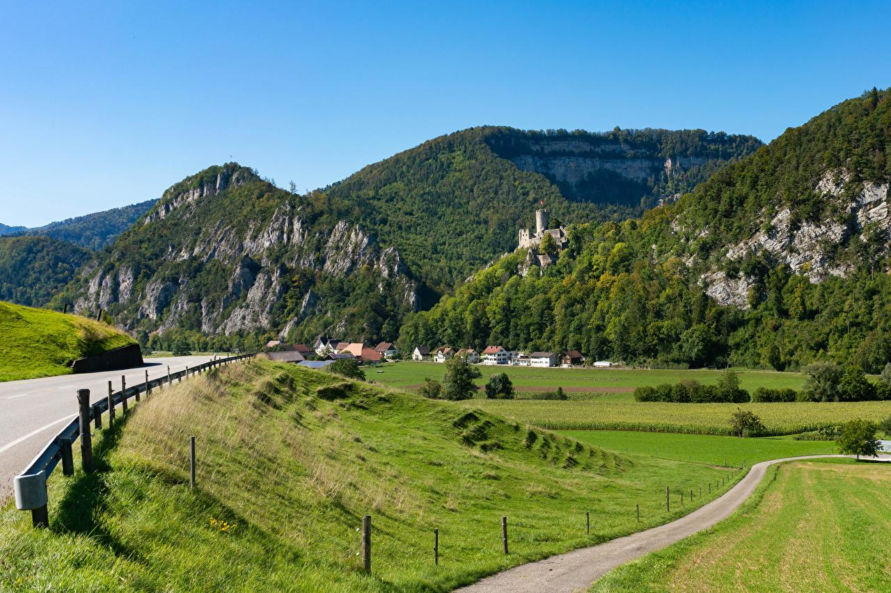Фотографии Швейцария Oensingen, Solothurn гора Природа Поля Дороги Дома Горы Здания