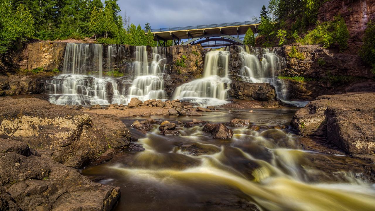 Обои штаты Minneopa State Park скалы Мосты Природа Водопады Парки США Утес Скала скале