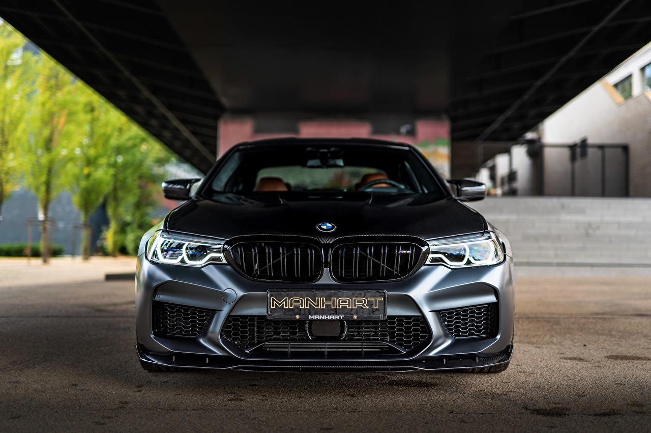 Фотография BMW Manhart M5 V8 F90 2019 4.4 MH5 800 815 черные авто Спереди БМВ черная Черный черных машина машины Автомобили автомобиль