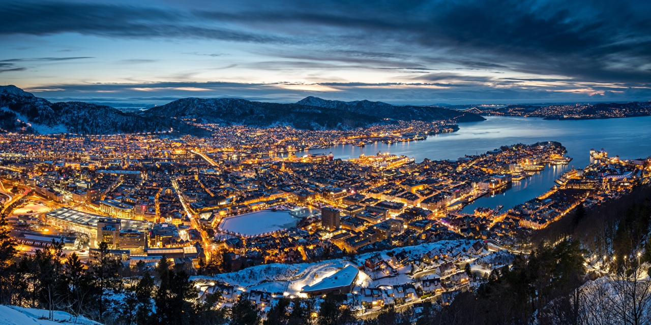 Обои для рабочего стола Берген Норвегия Вечер Сверху Города город