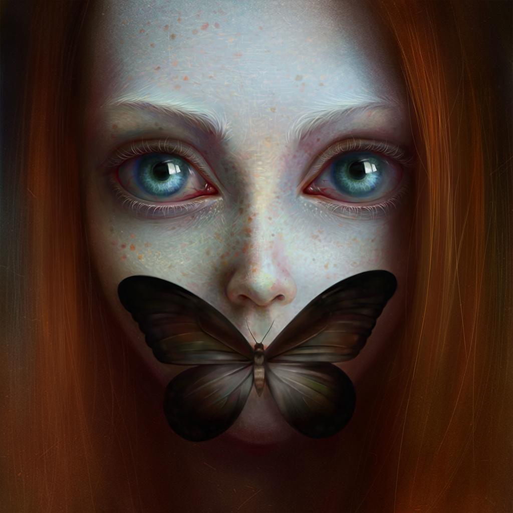 Картинка Бабочки Рыжая Глаза Девушки Взгляд Рисованные смотрит