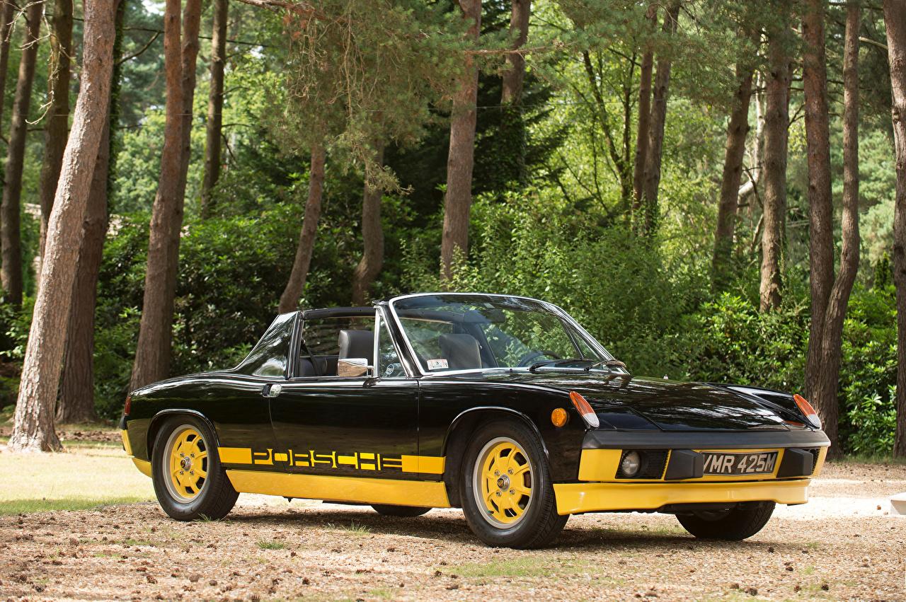Обои для рабочего стола Porsche 1974 914 Limited Edition Родстер Ретро черных машина Металлик Порше Черный черные черная Винтаж старинные авто машины автомобиль Автомобили