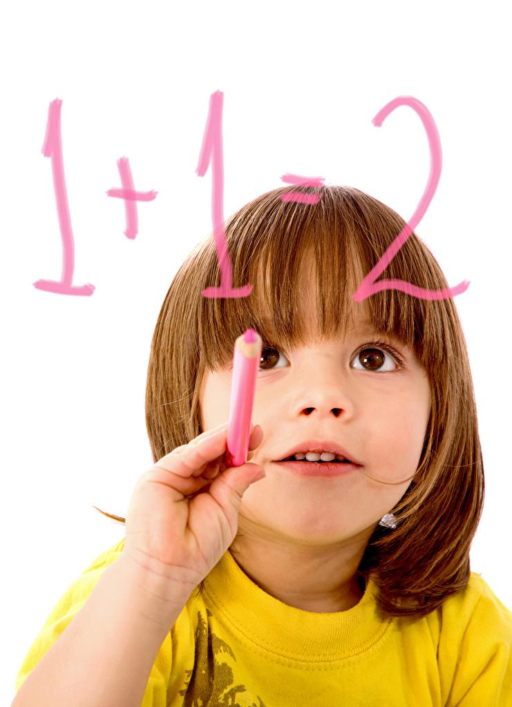 Фотография девочка школьные Дети рука смотрят белом фоне  для мобильного телефона Девочки Школа ребёнок Руки Взгляд смотрит Белый фон белым фоном