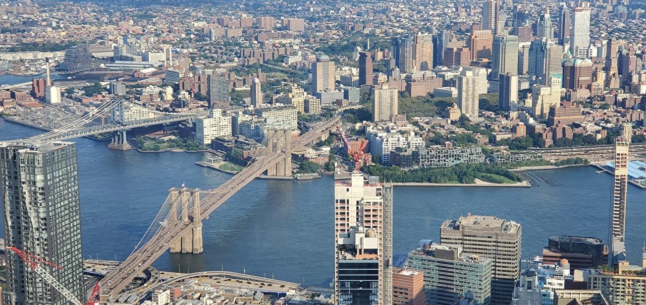 Фото Нью-Йорк Манхэттен США Harlem river Мосты река Дома город штаты америка мост Реки речка Здания Города