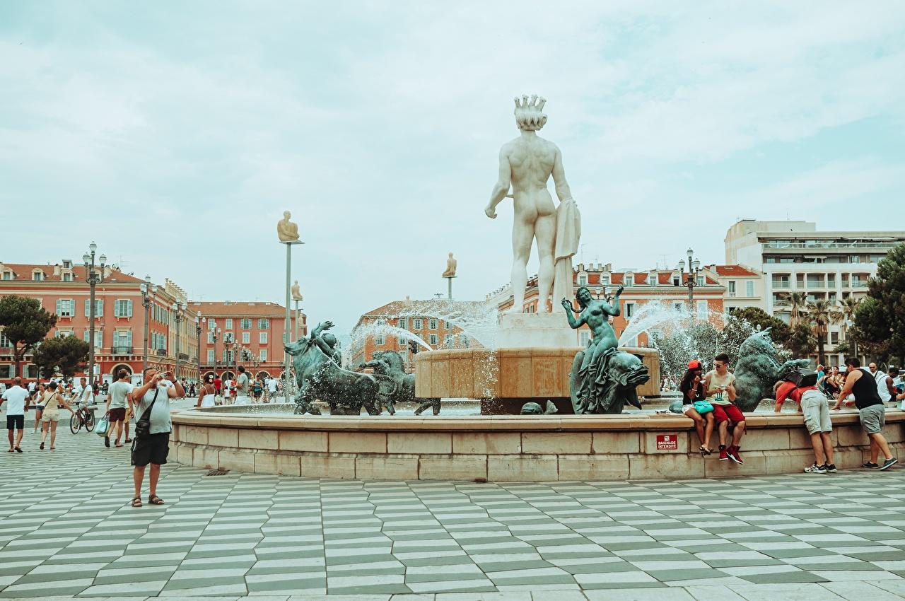 Картинки Франция Фонтаны Городская площадь Place de Massena, Nice, Fountain Sun, Apollo город скульптура городской площади Города Скульптуры